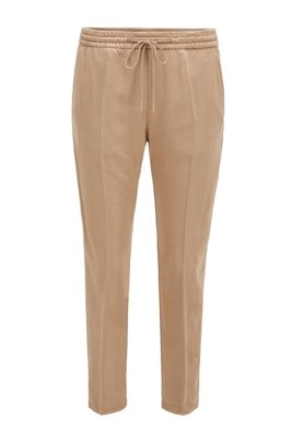 Tapered-leg jogging trousers in lyocell twill, Beige