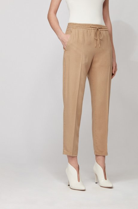 Tapered-leg jogging trousers in TENCEL™ Lyocell twill, Beige