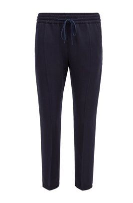 Tapered-leg jogging trousers in lyocell twill, Light Blue