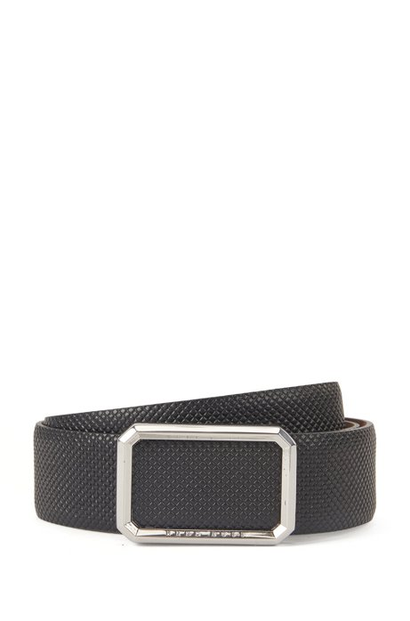 Textured leather belt with shaped buckle, Black