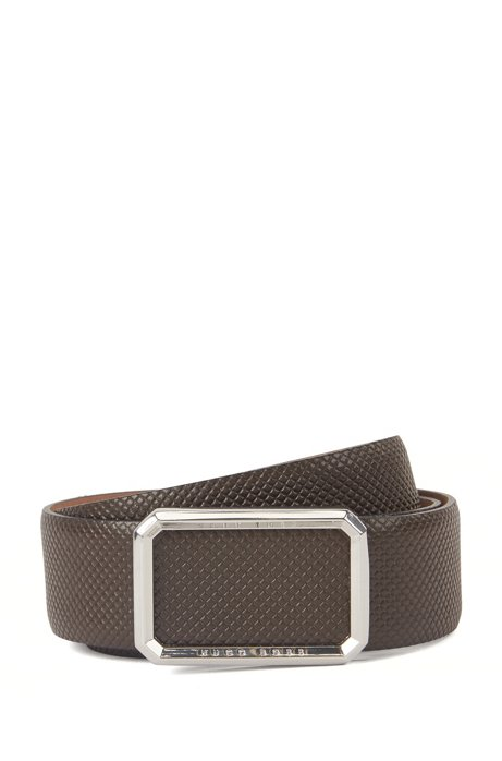 Textured leather belt with shaped buckle, Dark Brown