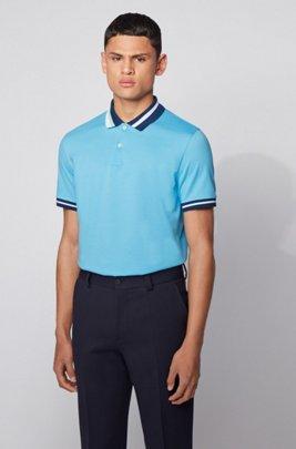 Polo en coton avec rayures asymétriques au niveau du col, Turquoise