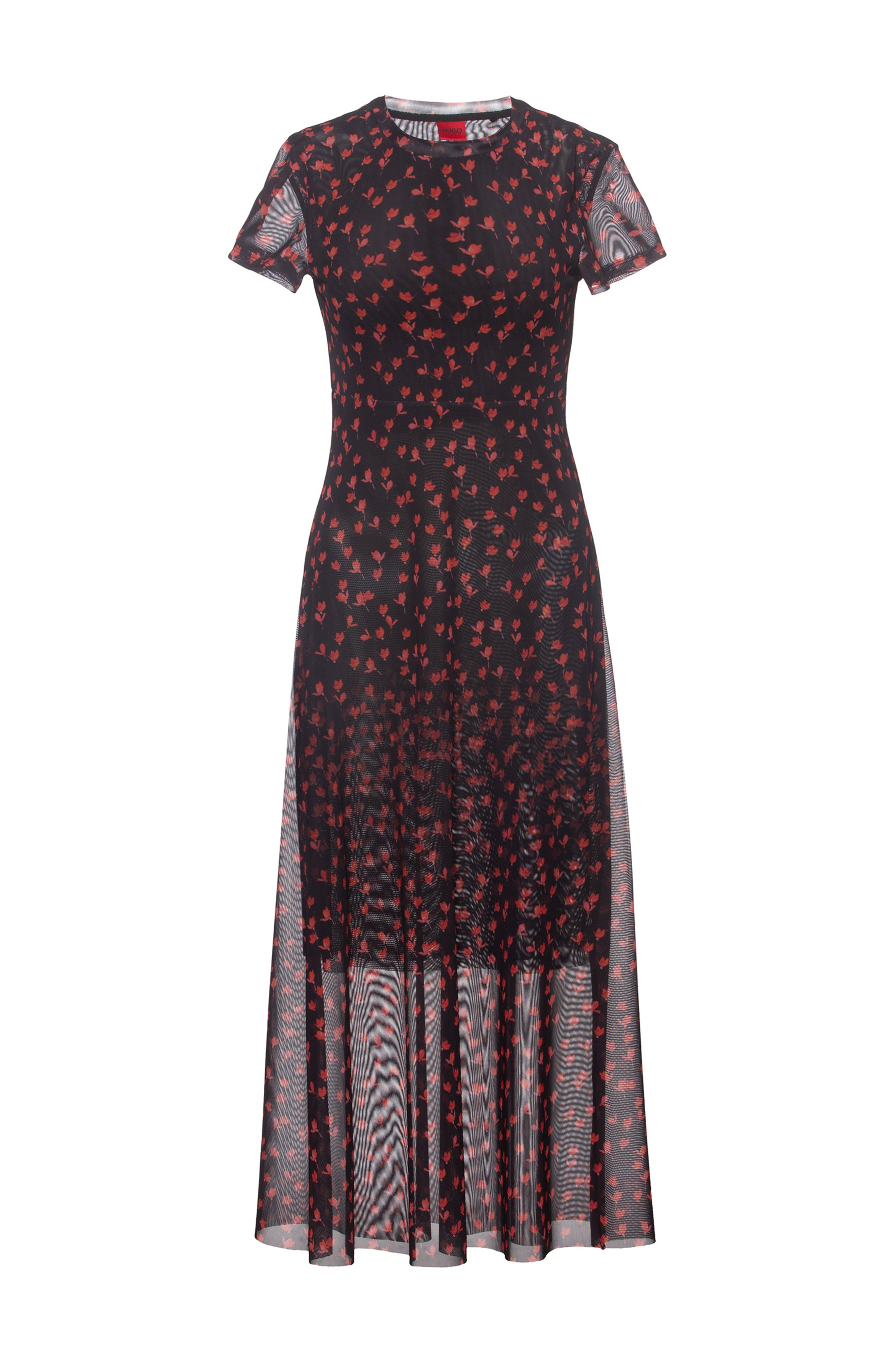 Midi-length mesh dress with all-over graphic print, Patterned