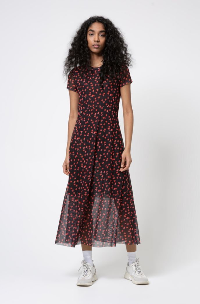 Midi-length mesh dress with all-over graphic print