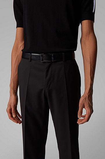 男士意大利涂层皮革双面腰带,  002_黑色