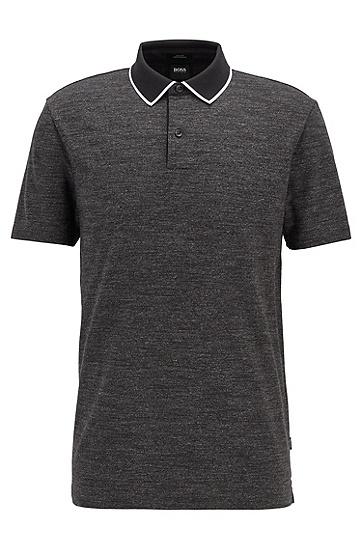 花灰条纹棉质修身 Polo 衫,  001_黑色