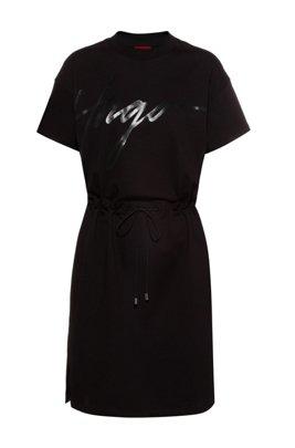 Jersey dress with handwritten-logo print and drawstring waist, Black
