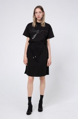 Jersey dress with handwritten-logo print and drawstring waist, Black