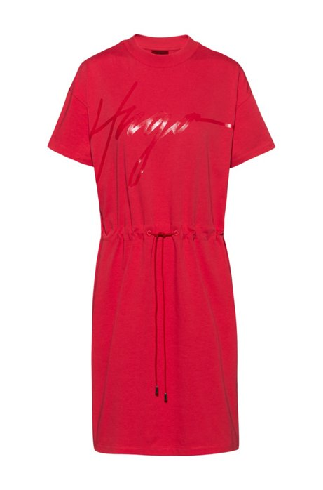 Jersey dress with handwritten-logo print and drawstring waist, Red