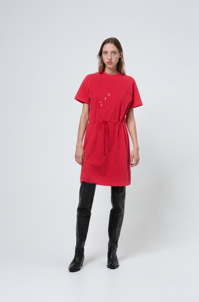 Jersey dress with handwritten-logo print and drawstring waist