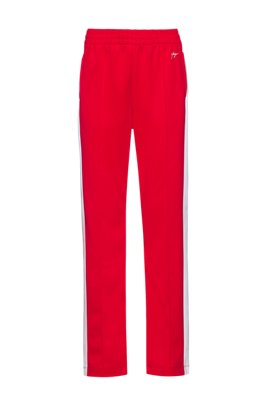 Relaxed-fit jogging trousers with side stripes, Red