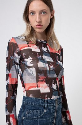 Crew-neck mesh top with graphic print, Patterned