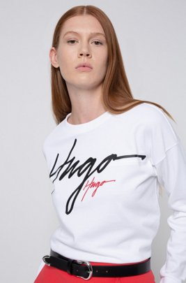 Relaxed-fit sweatshirt in French terry with handwritten logos, White