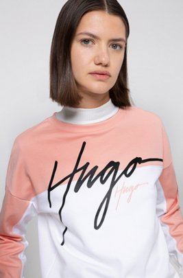 Relaxed-fit sweatshirt in French terry with handwritten logos, Patterned
