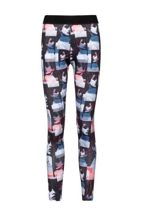 Extra-slim-fit jersey leggings with graphic print, Patterned