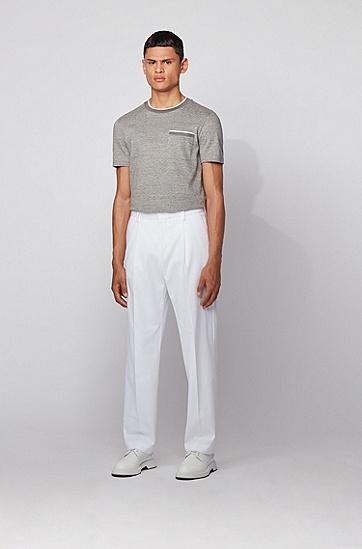 条纹饰边花灰棉修身 T 恤,  072_淡灰色