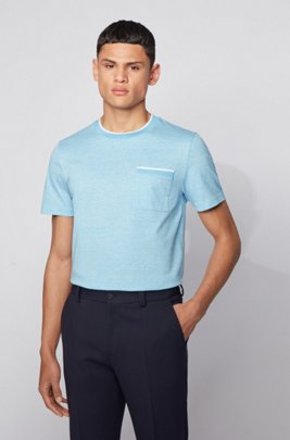 Slim-fit T-shirt in heathered cotton with striped trims, Turquoise