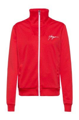 Relaxed-Fit Jersey-Jacke mit handgeschriebenem Logo, Rot
