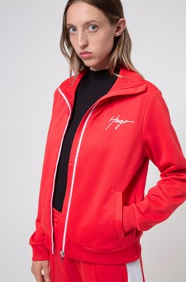Relaxed-fit jersey jacket with handwritten logo, Red