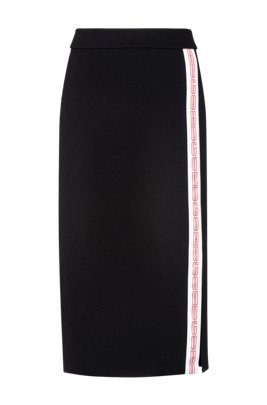 Pencil skirt in stretch jersey with logo stripe, Black