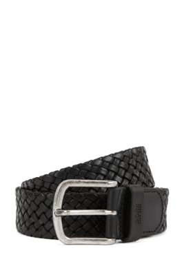 Woven-leather belt with logo-stamped keeper, Black