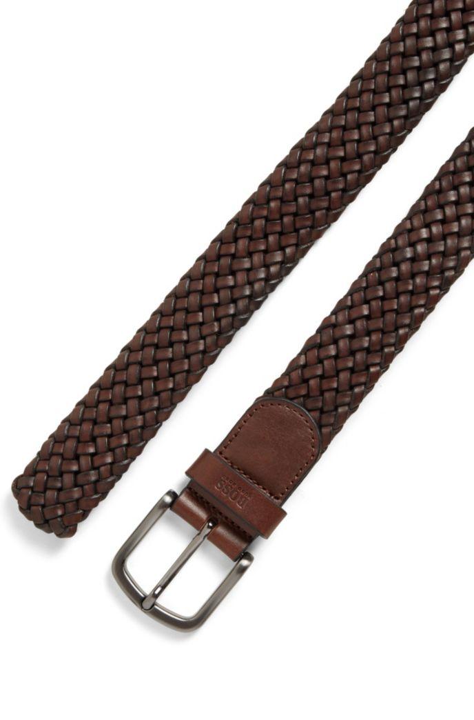 Cinturón de piel trenzada con trabilla estampada