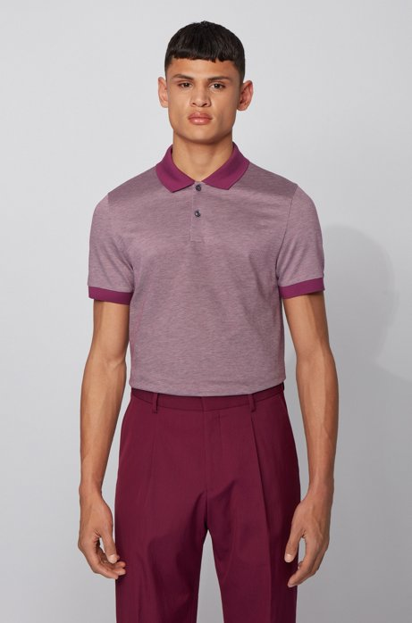 Slim-fit polo shirt in micro-patterned cotton, Purple