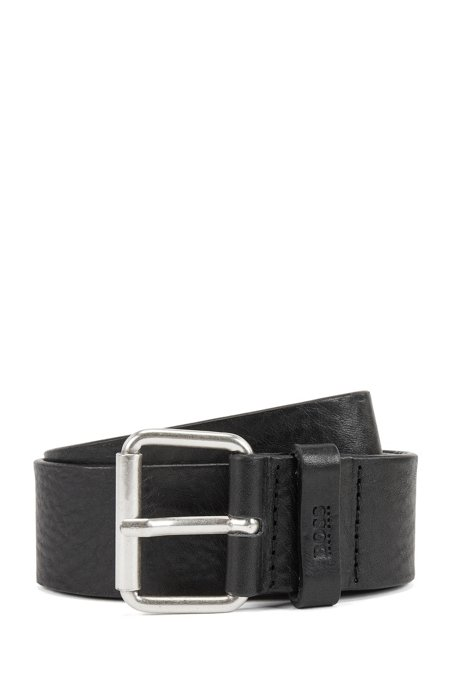 Vegetable-tanned leather belt with chisel tip, Black