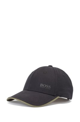 Cotton-twill cap with contrast under visor, Black