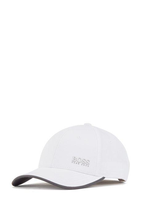 Cappellino in twill di cotone con sottovisiera a contrasto, Bianco