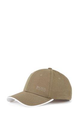 Cap aus Baumwoll-Twill mit kontrastfarbener Schirmunterseite, Dunkelgrün