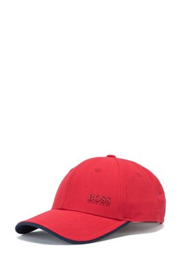 Cotton-twill cap with contrast under visor, Red