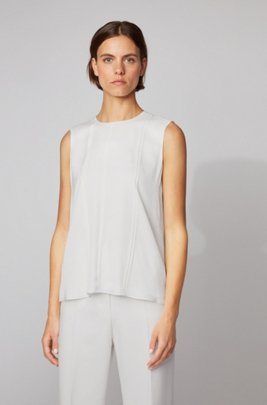 Sleeveless top in stretch-silk crêpe de Chine, White