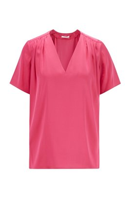 Slip-on blouse in silk-blend crêpe de Chine, Pink