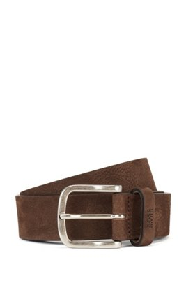 Nubuck-leather belt with antique-effect pin buckle, Dark Brown