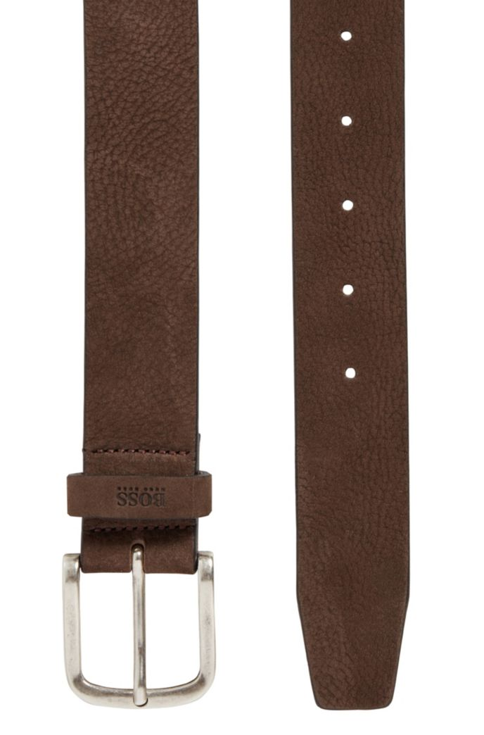 Nubuck-leather belt with antique-effect pin buckle