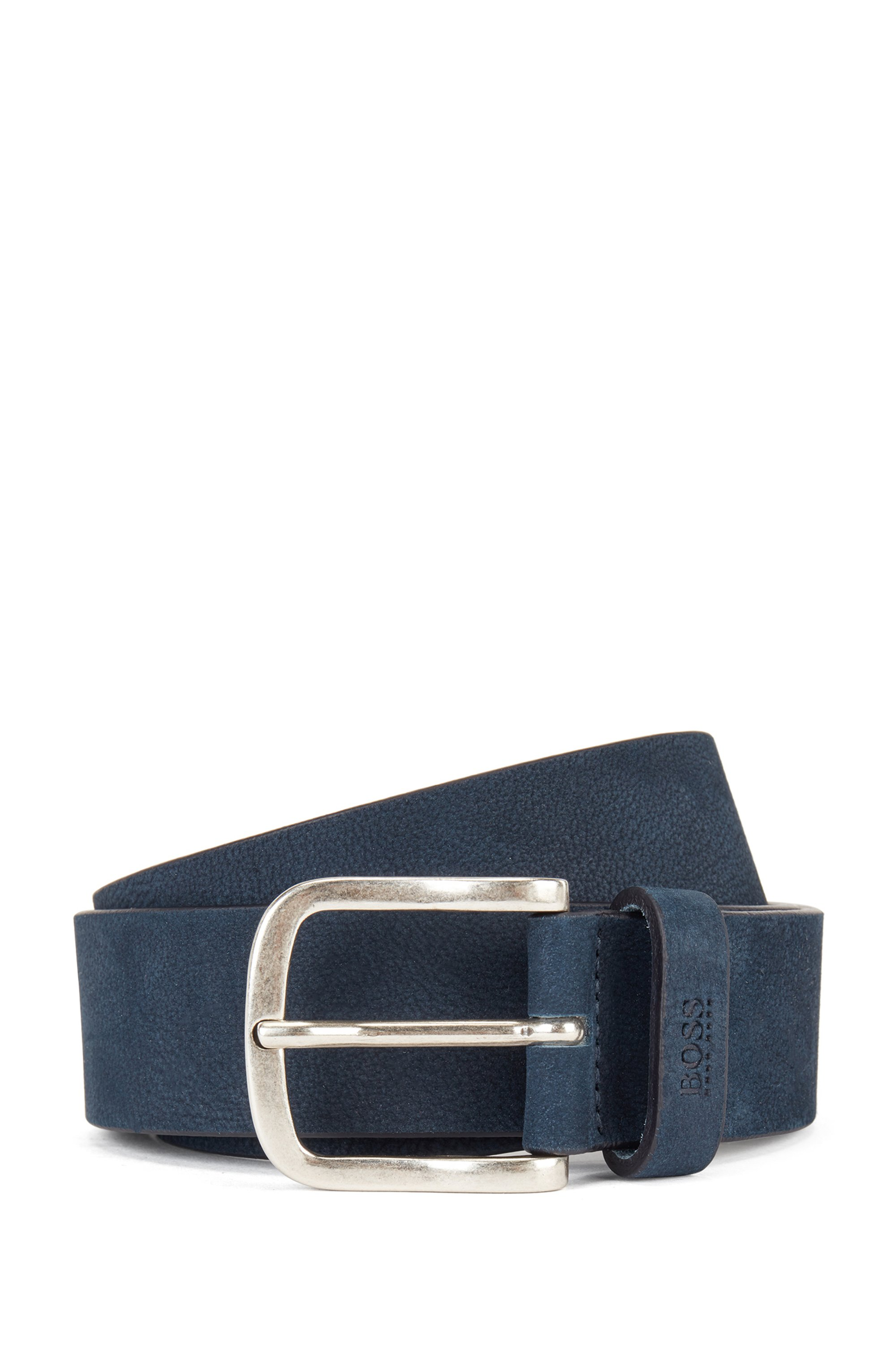 Nubuck-leather belt with antique-effect pin buckle, Dark Blue