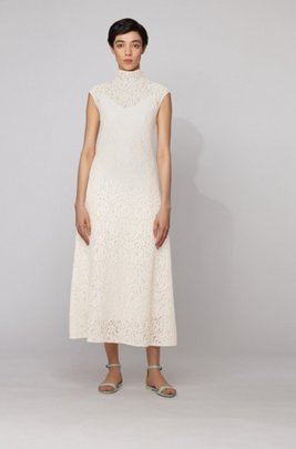 Midi dress in floral lace with mock neckline, White
