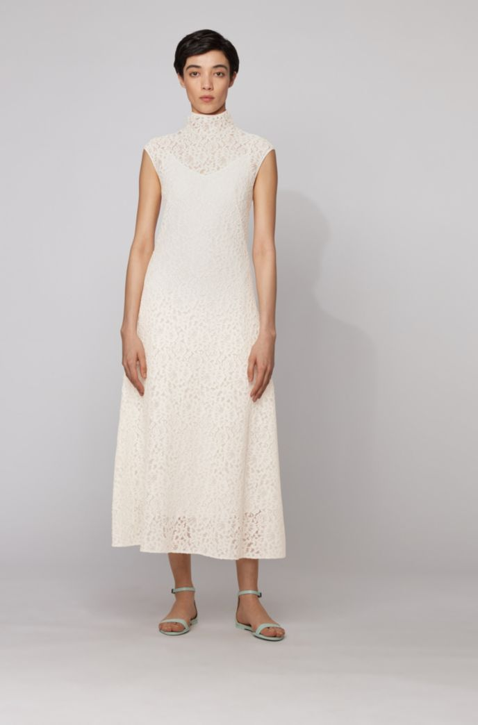 Midi dress in floral lace with mock neckline