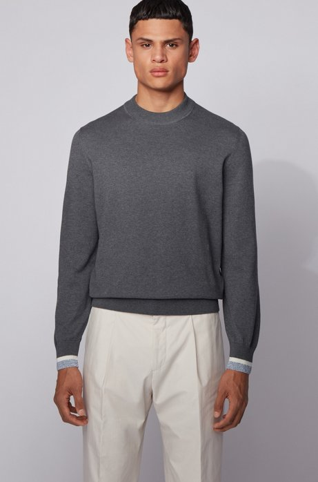Cotton sweater with striped cuffs, Grey