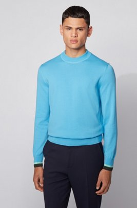 Cotton sweater with striped cuffs, Turquoise