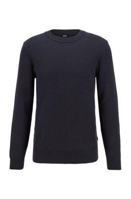 Knitted sweater in micro-structured cotton, Dark Blue