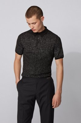 Cotton-blend polo shirt with jacquard-woven pattern, Black Patterned