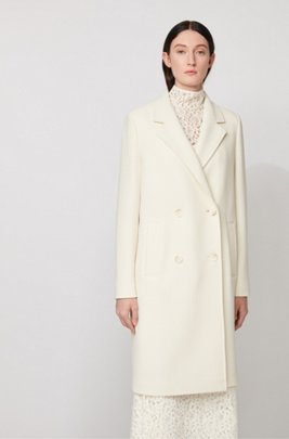 Manteau Relaxed Fit en tissu stretch gaufré, Blanc