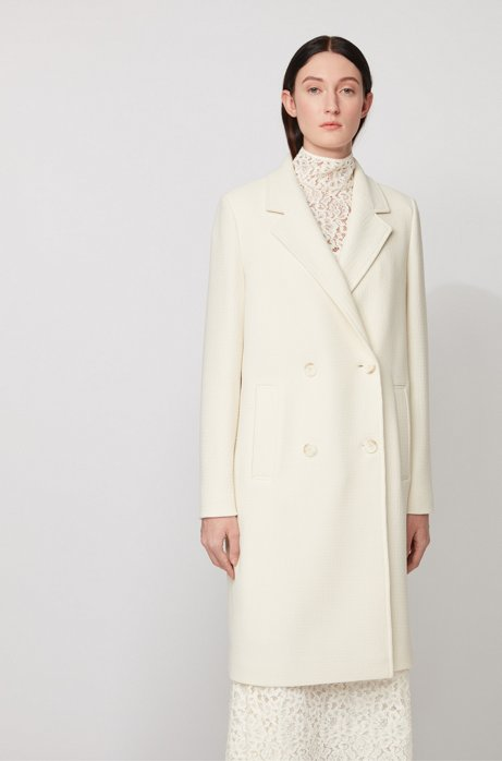 Relaxed-fit coat in waffle-structured stretch fabric, White