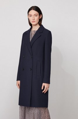 Relaxed-fit coat in waffle-structured stretch fabric, Light Blue