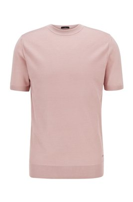Short-sleeved sweater in pure silk with structured front, light pink
