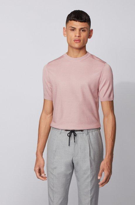 Jersey de mangas cortas en pura seda con estructura en la parte delantera, Rosa claro