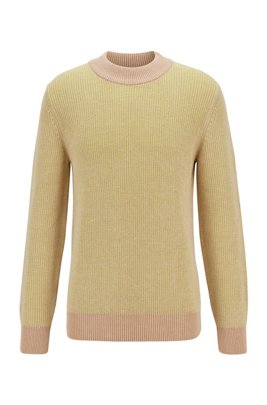 Knitted sweater in mouliné cotton and linen, Light Beige