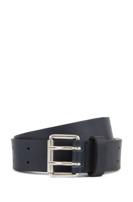 Leather belt with double-prong roller buckle, ダークブルー